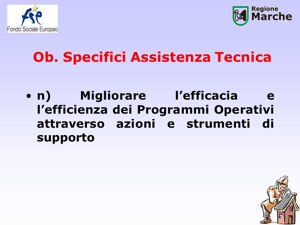Ob. Specifici Assistenza Tecnica n) Migliorare lefficacia e lefficienza dei Programmi Operativi attraverso azioni e strumenti di supporto