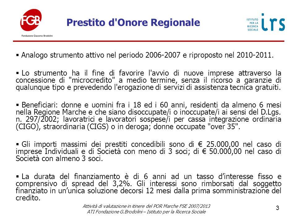 Prestito d Onore Regionale Attività di valutazione in itinere del POR Marche FSE 2007/2013 ATI Fondazione G.Brodolini – Istituto per la Ricerca Sociale 3 Analogo strumento attivo nel periodo 2006-2007 e riproposto nel 2010-2011.