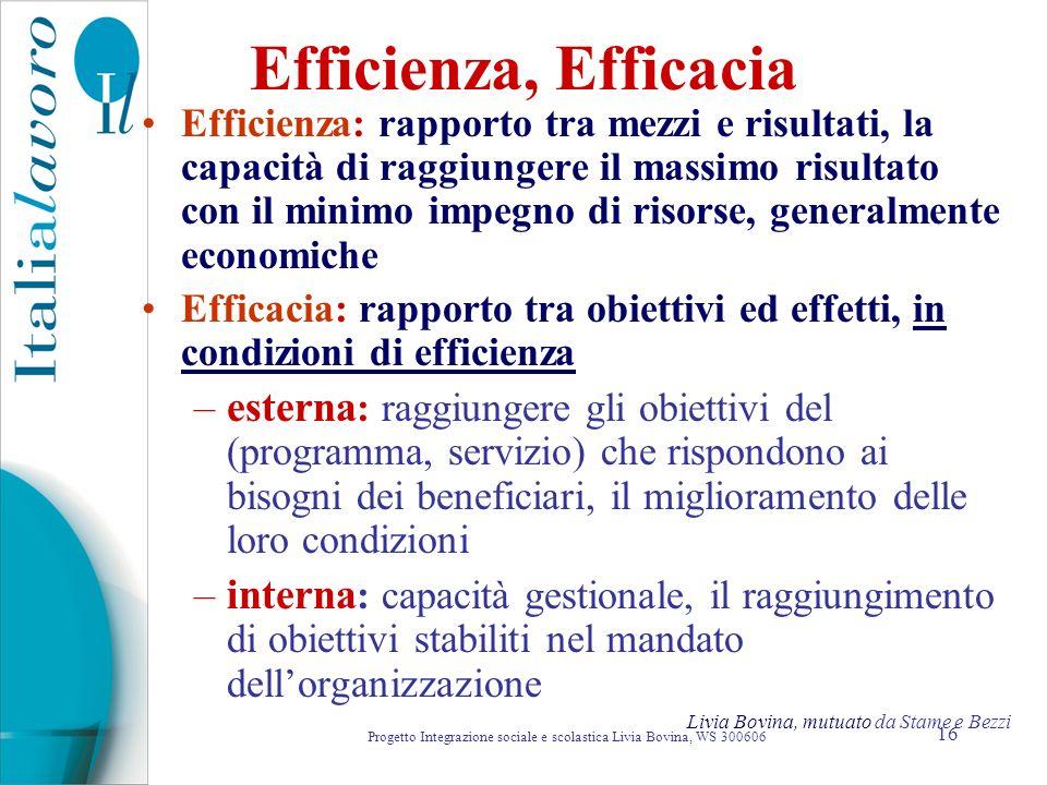 16 Efficienza, Efficacia Efficienza: rapporto tra mezzi e risultati, la capacità di raggiungere il massimo risultato con il minimo impegno di risorse,