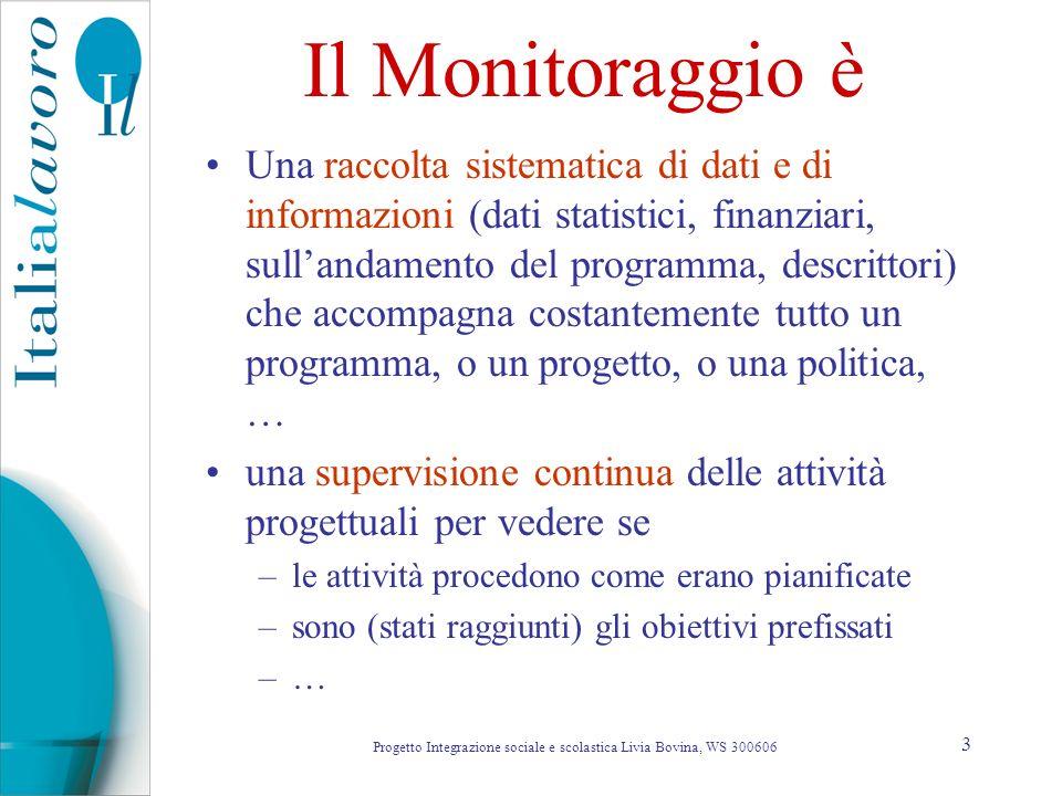 3 Il Monitoraggio è Una raccolta sistematica di dati e di informazioni (dati statistici, finanziari, sullandamento del programma, descrittori) che acc