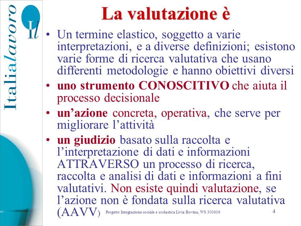 4 La valutazione è Un termine elastico, soggetto a varie interpretazioni, e a diverse definizioni; esistono varie forme di ricerca valutativa che usan