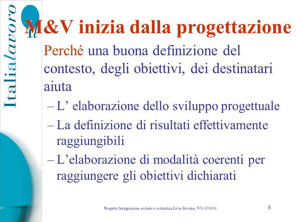 8 M&V inizia dalla progettazione Perché una buona definizione del contesto, degli obiettivi, dei destinatari aiuta –L elaborazione dello sviluppo prog