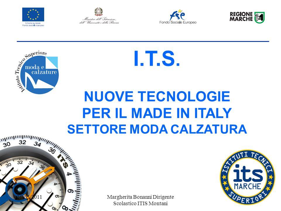 I.T.S. NUOVE TECNOLOGIE PER IL MADE IN ITALY SETTORE MODA CALZATURA 26/05/2011Margherita Bonanni Dirigente Scolastico ITIS Montani