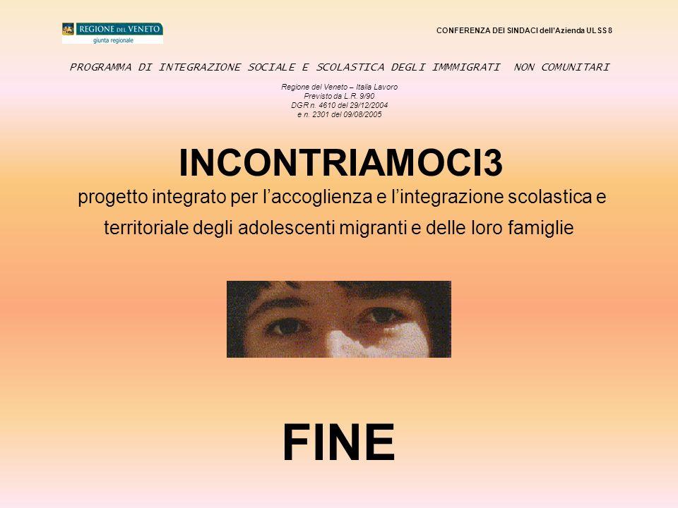 CONFERENZA DEI SINDACI dellAzienda ULSS 8 PROGRAMMA DI INTEGRAZIONE SOCIALE E SCOLASTICA DEGLI IMMMIGRATI NON COMUNITARI Regione del Veneto – Italia L
