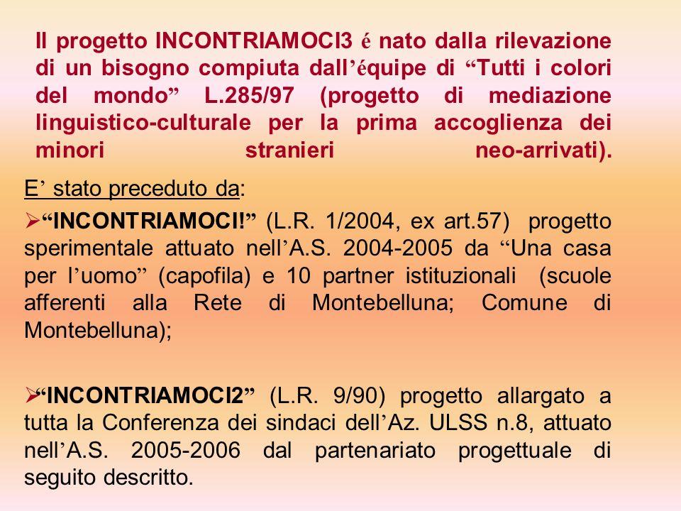 Il progetto INCONTRIAMOCI3 é nato dalla rilevazione di un bisogno compiuta dallé quipe di Tutti i colori del mondo L.285/97 (progetto di mediazione li