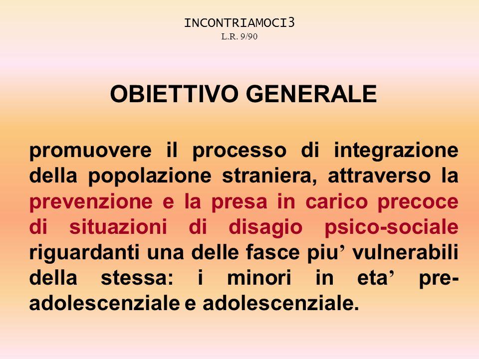 INCONTRIAMOCI3 L.R. 9/90 OBIETTIVO GENERALE promuovere il processo di integrazione della popolazione straniera, attraverso la prevenzione e la presa i