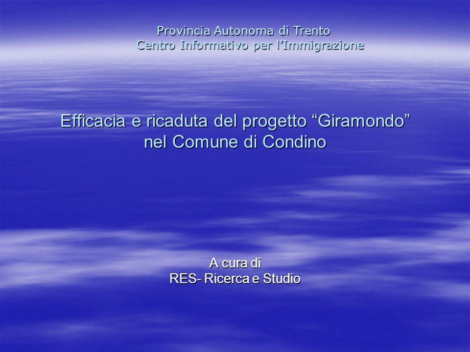 Efficacia e ricaduta del progetto Giramondo nel Comune di Condino A cura di RES- Ricerca e Studio Provincia Autonoma di Trento Centro Informativo per