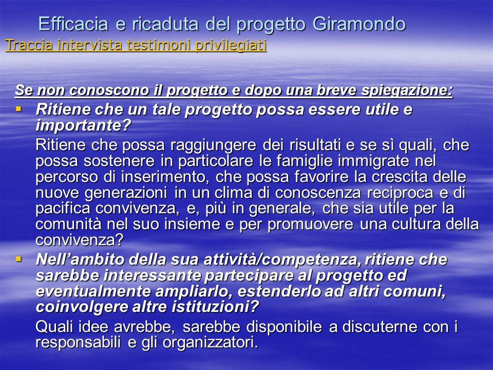Efficacia e ricaduta del progetto Giramondo Se non conoscono il progetto e dopo una breve spiegazione : Ritiene che un tale progetto possa essere util