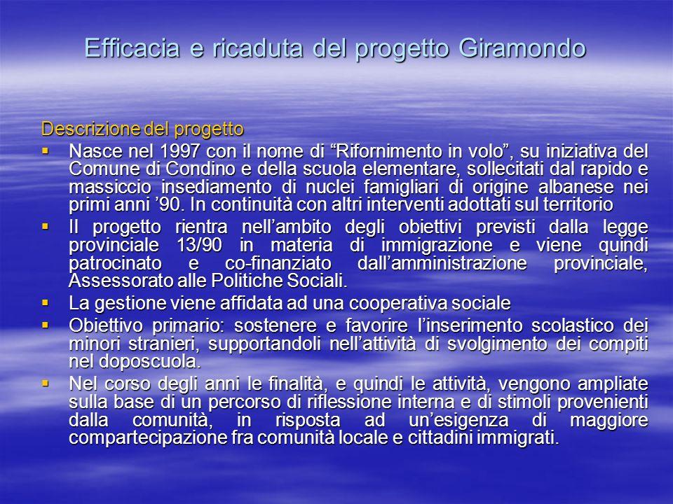Efficacia e ricaduta del progetto Giramondo Descrizione del progetto Nasce nel 1997 con il nome di Rifornimento in volo, su iniziativa del Comune di C