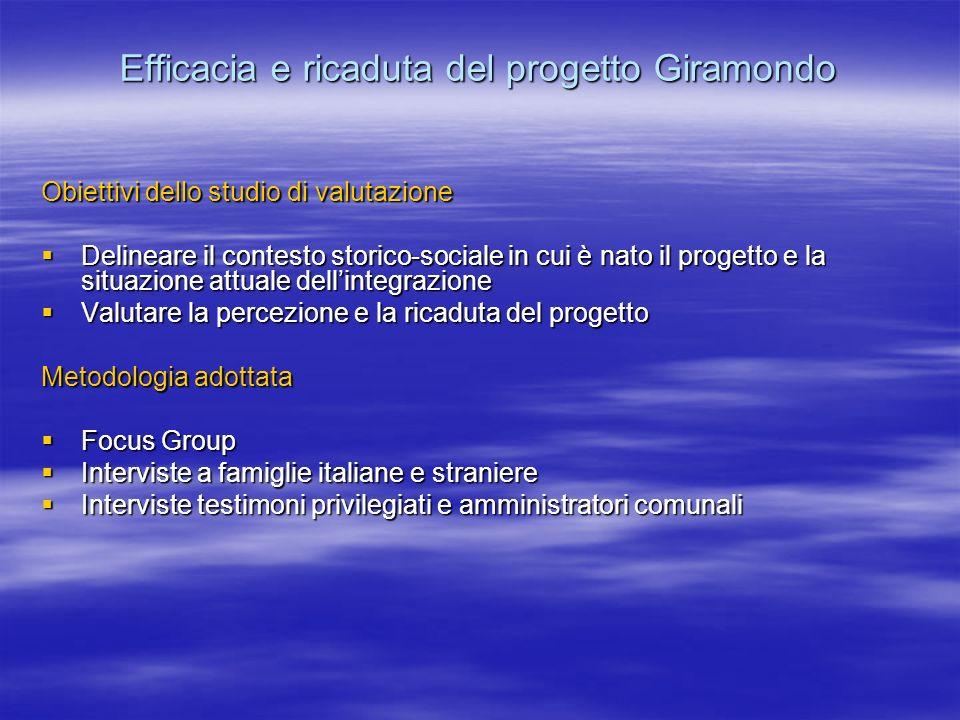 Efficacia e ricaduta del progetto Giramondo Obiettivi dello studio di valutazione Delineare il contesto storico-sociale in cui è nato il progetto e la