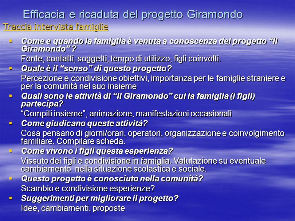 Efficacia e ricaduta del progetto Giramondo Come e quando la famiglia è venuta a conoscenza del progetto Il Giramondo ? Come e quando la famiglia è ve