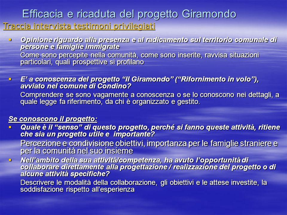 Efficacia e ricaduta del progetto Giramondo Opinione riguardo alla presenza e al radicamento sul territorio comunale di persone e famiglie immigrate O