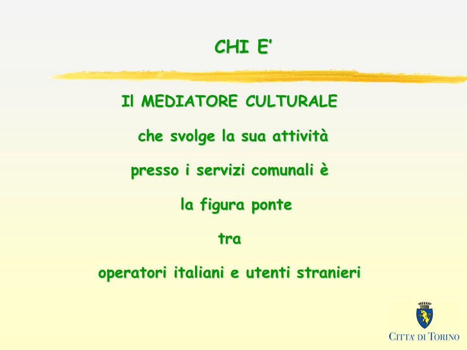 Il MEDIATORE CULTURALE che svolge la sua attività presso i servizi comunali è la figura ponte tra operatori italiani e utenti stranieri CHI E