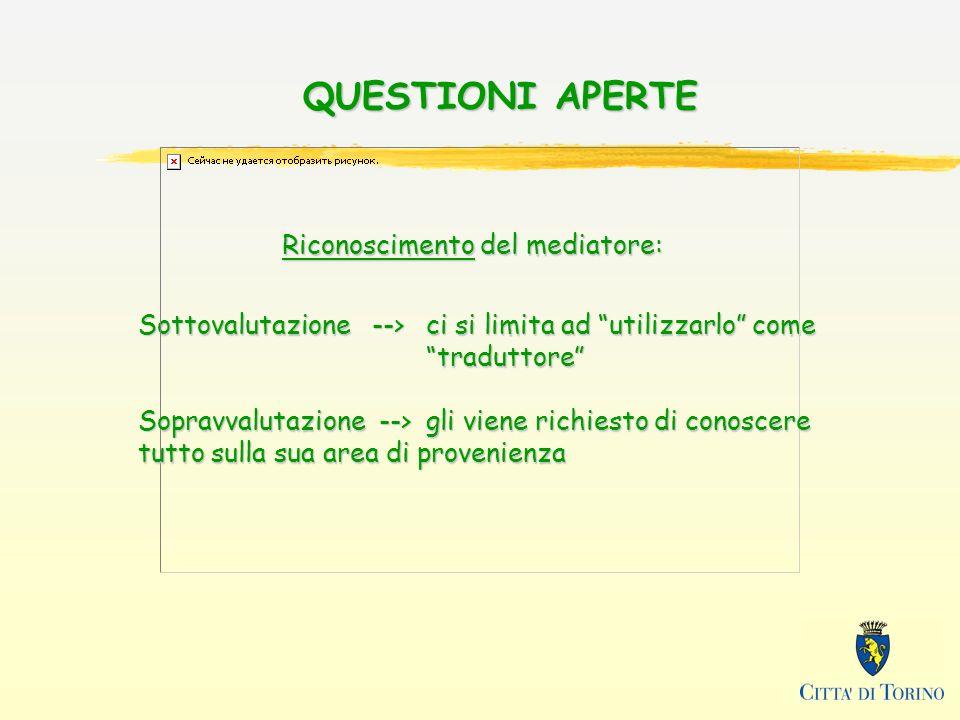 QUESTIONI APERTE Riconoscimento del mediatore: Sottovalutazione --> ci si limita ad utilizzarlo come traduttore Sopravvalutazione --> gli viene richiesto di conoscere tutto sulla sua area di provenienza