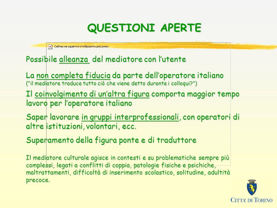 QUESTIONI APERTE Possibile alleanza del mediatore con lutente La non completa fiducia da parte delloperatore italiano (il mediatore traduce tutto ciò