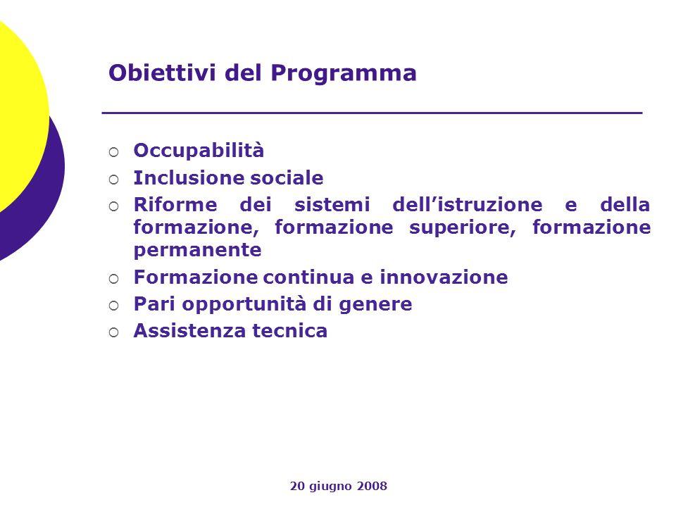 20 giugno 2008 Obiettivi del Programma Occupabilità Inclusione sociale Riforme dei sistemi dellistruzione e della formazione, formazione superiore, formazione permanente Formazione continua e innovazione Pari opportunità di genere Assistenza tecnica