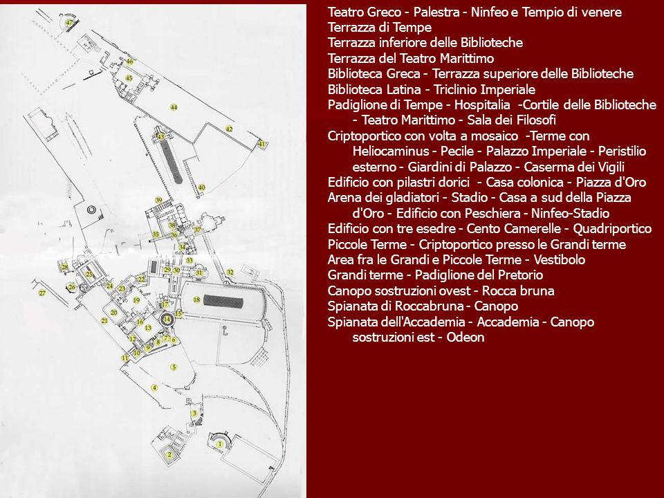 Teatro Greco - Palestra - Ninfeo e Tempio di venere Terrazza di Tempe Terrazza inferiore delle Biblioteche Terrazza del Teatro Marittimo Biblioteca Gr