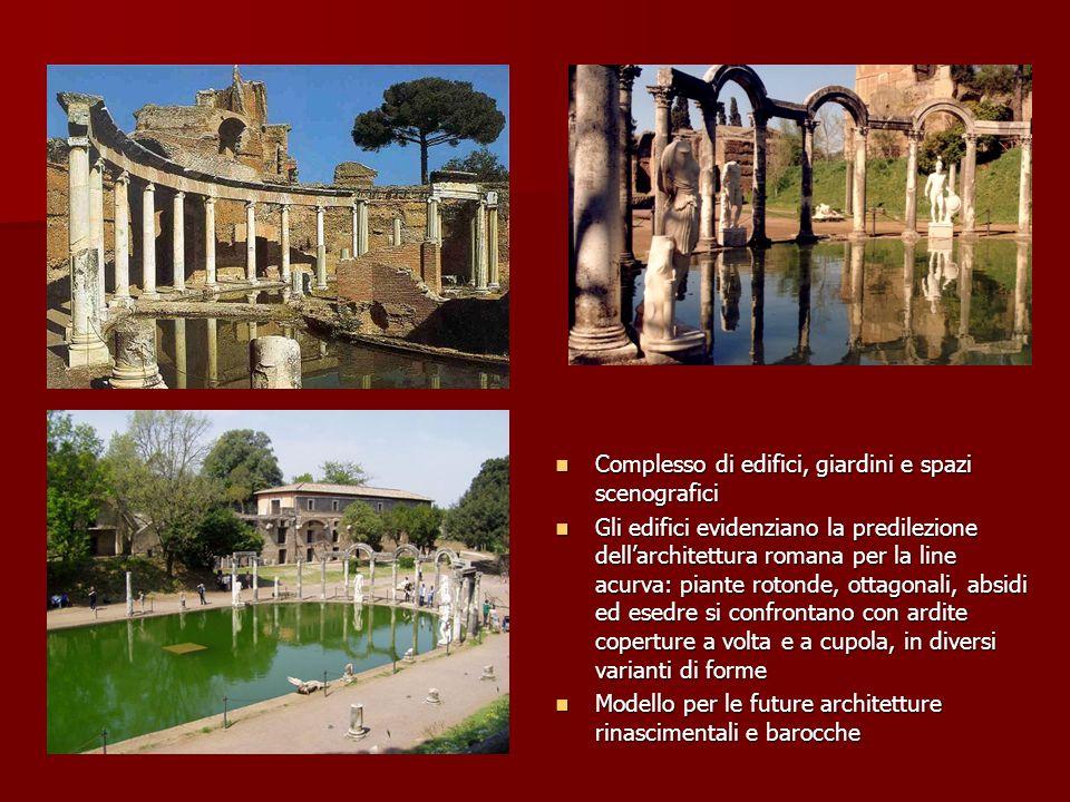 Complesso di edifici, giardini e spazi scenografici Complesso di edifici, giardini e spazi scenografici Gli edifici evidenziano la predilezione dellar