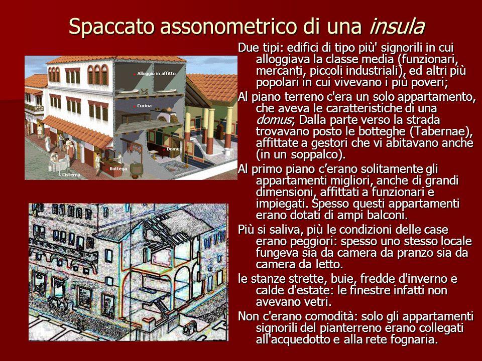 Spaccato assonometrico di una insula Due tipi: edifici di tipo più' signorili in cui alloggiava la classe media (funzionari, mercanti, piccoli industr