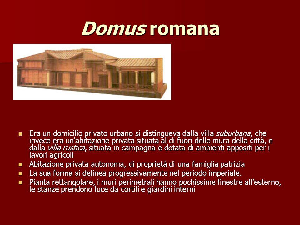 Domus romana Era un domicilio privato urbano si distingueva dalla villa suburbana, che invece era un'abitazione privata situata al di fuori delle mura