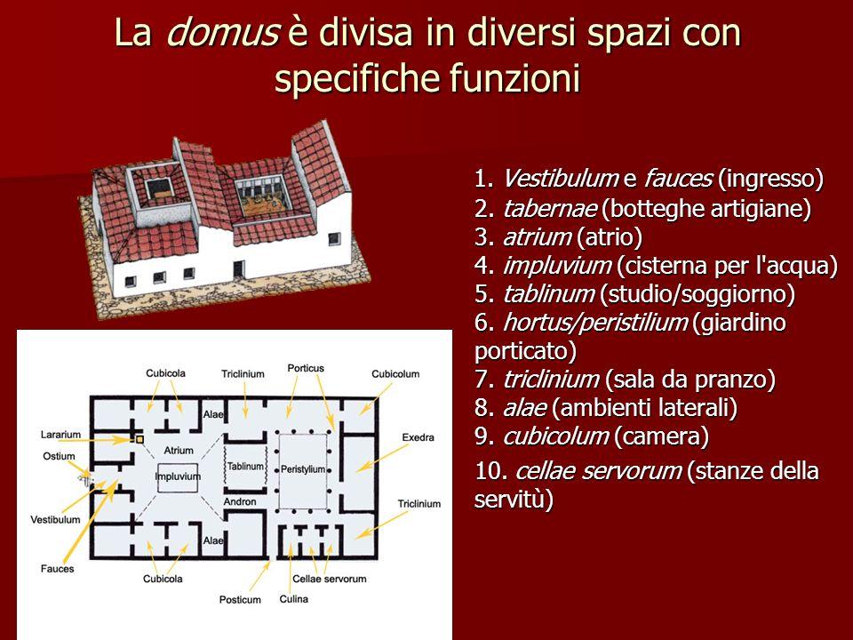 La domus è divisa in diversi spazi con specifiche funzioni 1. Vestibulum e fauces (ingresso) 2. tabernae (botteghe artigiane) 3. atrium (atrio) 4. imp