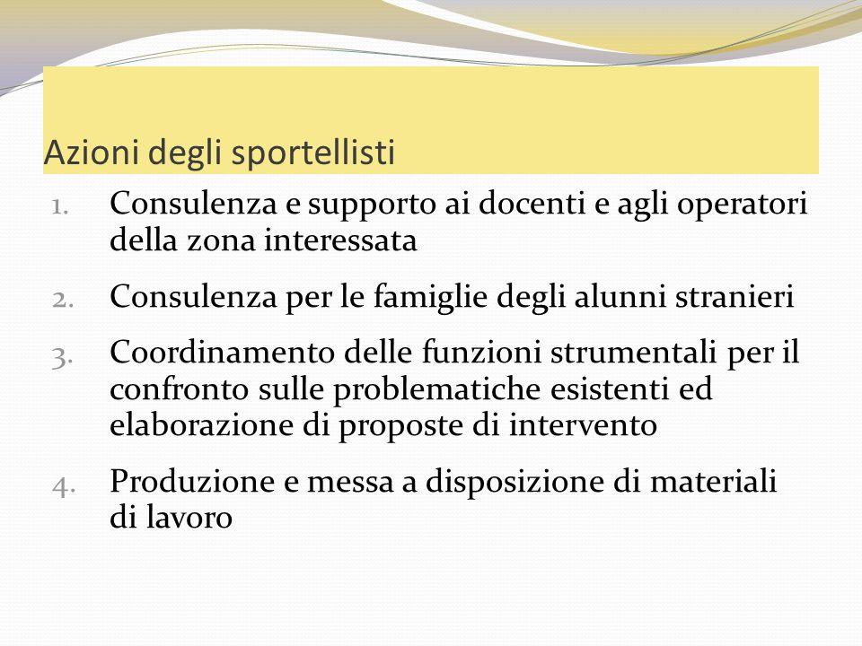 Azioni degli sportellisti 1. Consulenza e supporto ai docenti e agli operatori della zona interessata 2. Consulenza per le famiglie degli alunni stran