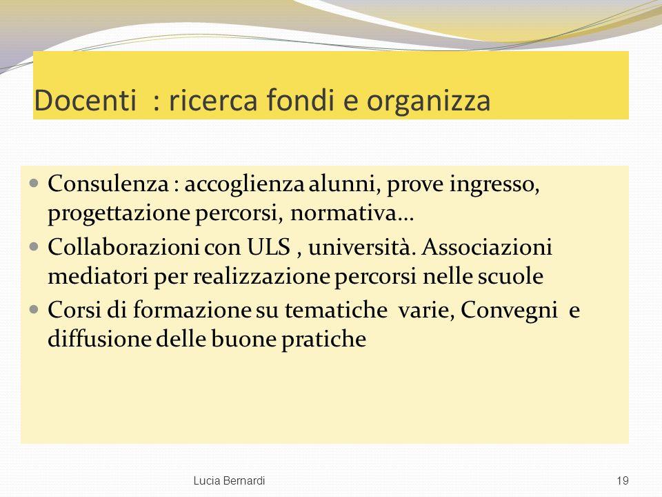 Docenti : ricerca fondi e organizza Consulenza : accoglienza alunni, prove ingresso, progettazione percorsi, normativa… Collaborazioni con ULS, università.