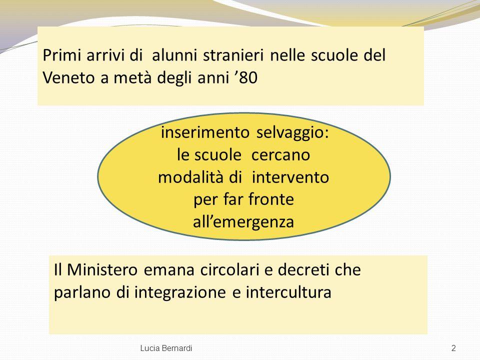 Primi arrivi di alunni stranieri nelle scuole del Veneto a metà degli anni 80 Il Ministero emana circolari e decreti che parlano di integrazione e int
