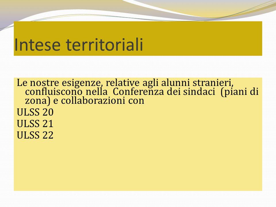 Intese territoriali Le nostre esigenze, relative agli alunni stranieri, confluiscono nella Conferenza dei sindaci (piani di zona) e collaborazioni con