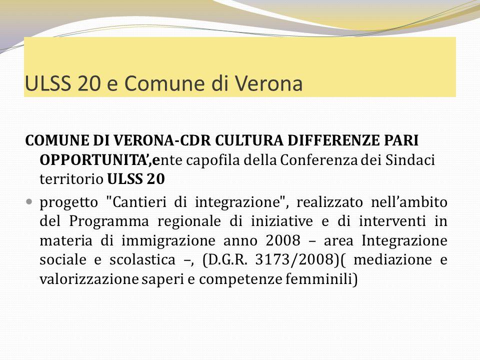 ULSS 20 e Comune di Verona COMUNE DI VERONA-CDR CULTURA DIFFERENZE PARI OPPORTUNITA,ente capofila della Conferenza dei Sindaci territorio ULSS 20 prog