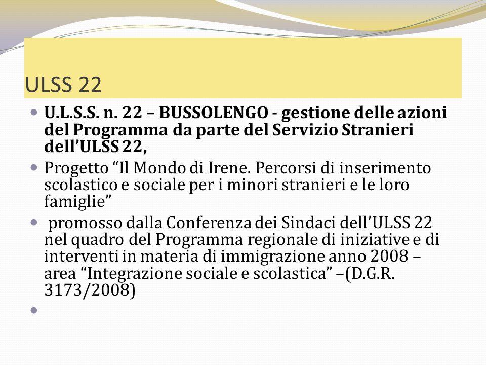 ULSS 22 U.L.S.S. n. 22 – BUSSOLENGO - gestione delle azioni del Programma da parte del Servizio Stranieri dellULSS 22, Progetto Il Mondo di Irene. Per