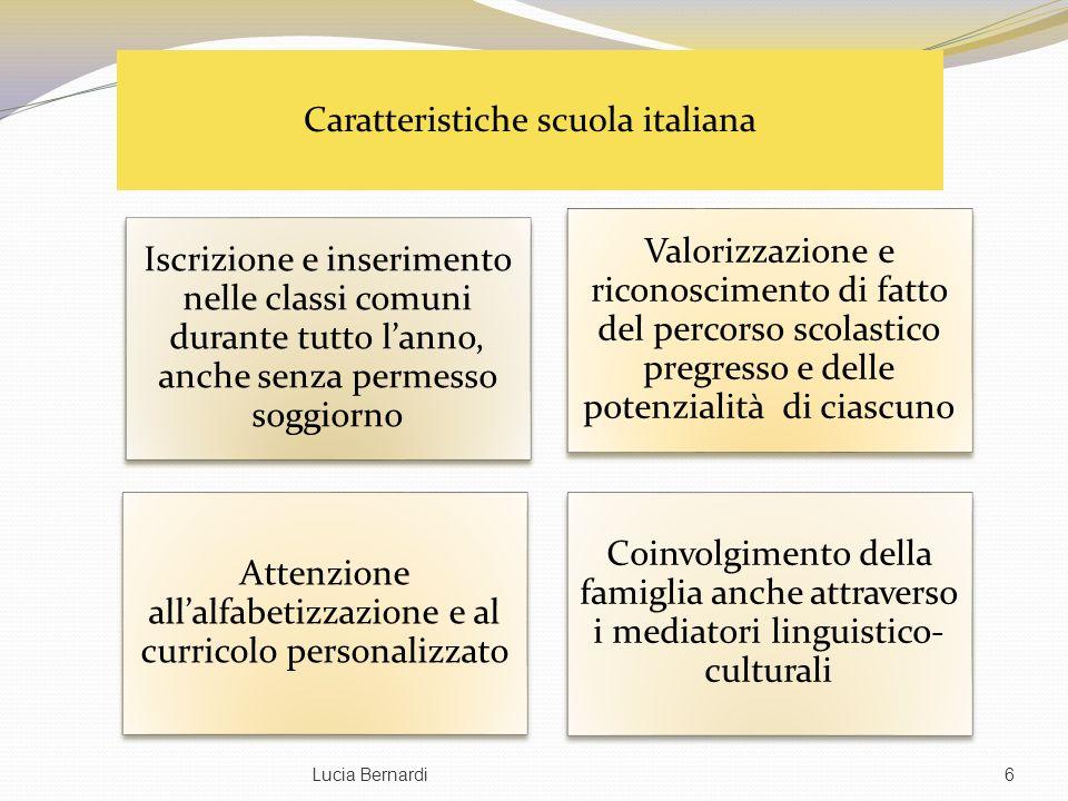 Lucia Bernardi6 Iscrizione e inserimento nelle classi comuni durante tutto lanno, anche senza permesso soggiorno Valorizzazione e riconoscimento di fa