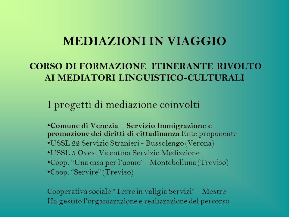 MEDIAZIONI IN VIAGGIO CORSO DI FORMAZIONE ITINERANTE RIVOLTO AI MEDIATORI LINGUISTICO-CULTURALI I progetti di mediazione coinvolti Comune di Venezia –