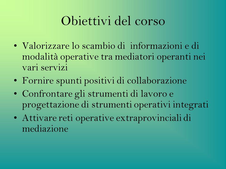 Obiettivi del corso Valorizzare lo scambio di informazioni e di modalità operative tra mediatori operanti nei vari servizi Fornire spunti positivi di