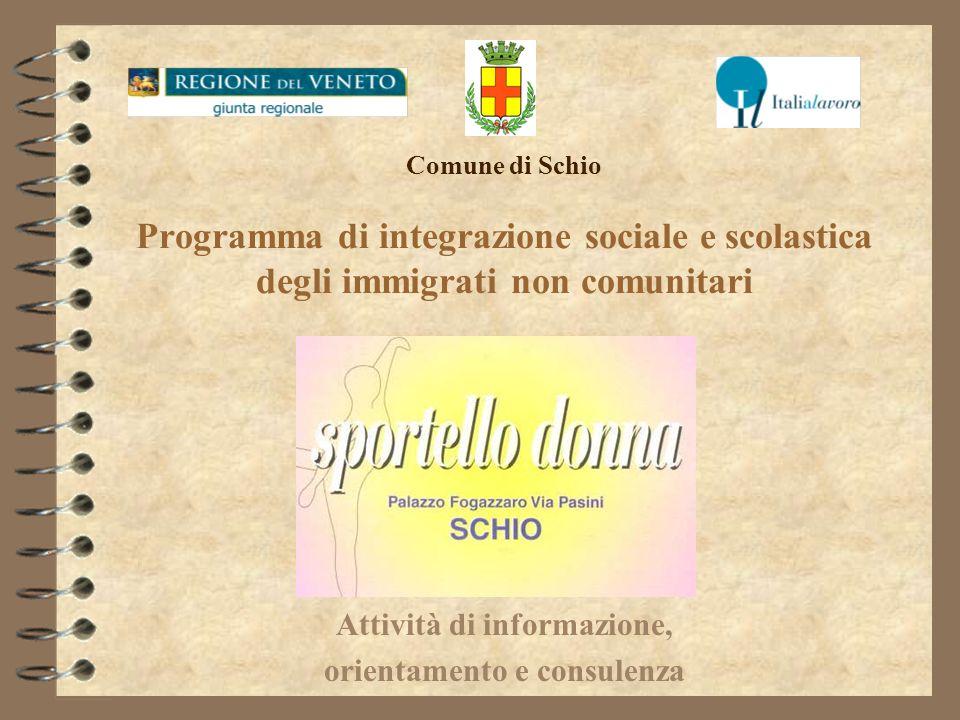 Comune di Schio Programma di integrazione sociale e scolastica degli immigrati non comunitari Attività di informazione, orientamento e consulenza
