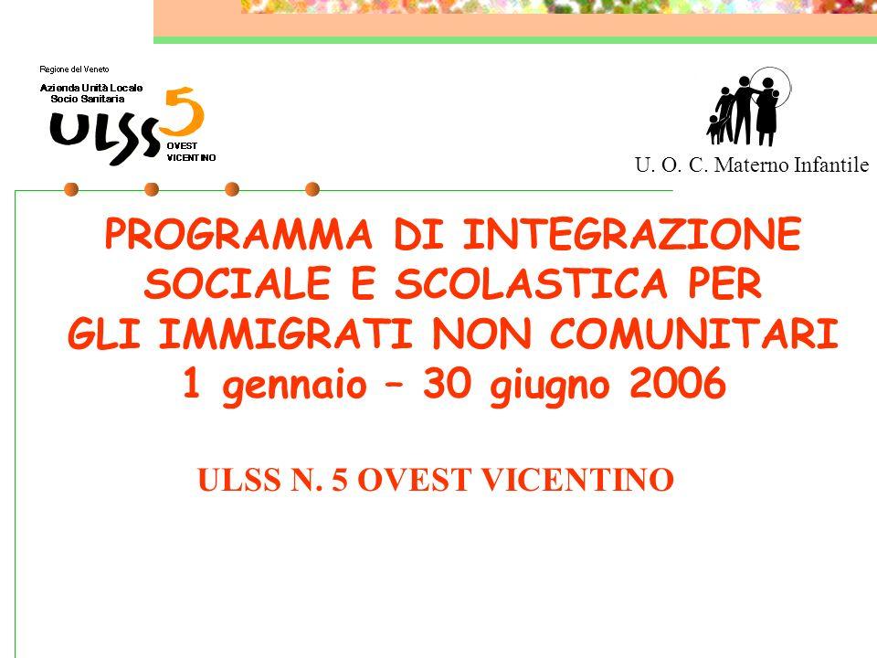 PROGRAMMA DI INTEGRAZIONE SOCIALE E SCOLASTICA PER GLI IMMIGRATI NON COMUNITARI 1 gennaio – 30 giugno 2006 ULSS N.