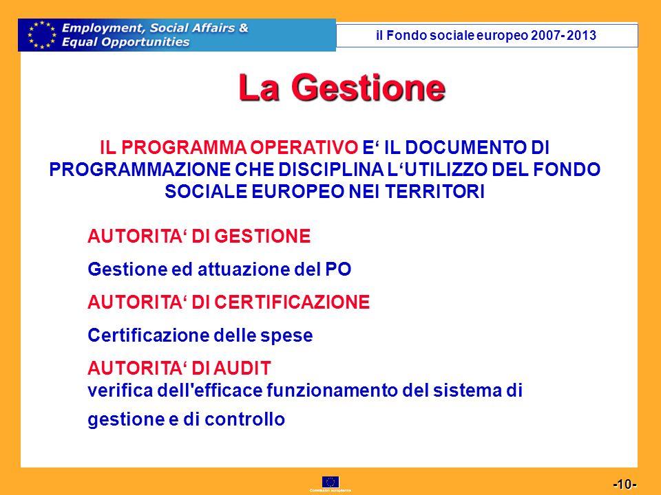 Commission européenne 10 -10- La Gestione IL PROGRAMMA OPERATIVO E IL DOCUMENTO DI PROGRAMMAZIONE CHE DISCIPLINA LUTILIZZO DEL FONDO SOCIALE EUROPEO NEI TERRITORI AUTORITA DI GESTIONE Gestione ed attuazione del PO AUTORITA DI CERTIFICAZIONE Certificazione delle spese AUTORITA DI AUDIT verifica dell efficace funzionamento del sistema di gestione e di controllo il Fondo sociale europeo 2007- 2013