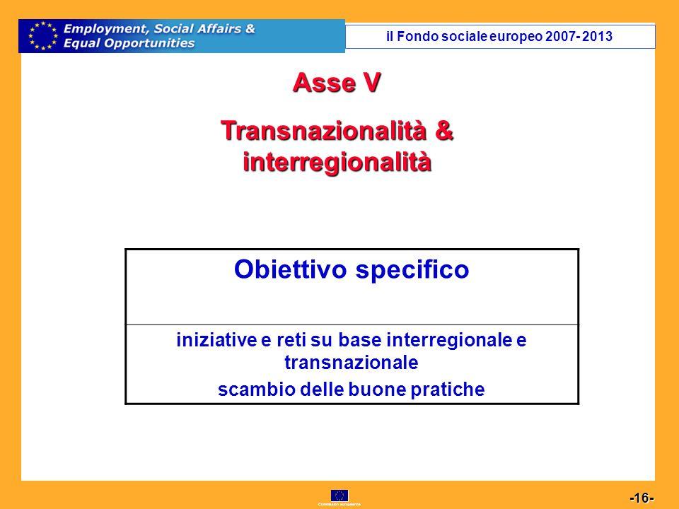 Commission européenne 16 -16- Asse V Transnazionalità & interregionalità Obiettivo specifico iniziative e reti su base interregionale e transnazionale scambio delle buone pratiche il Fondo sociale europeo 2007- 2013