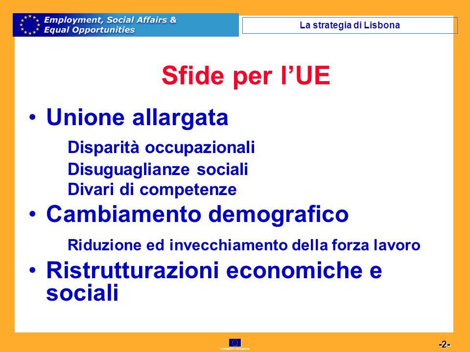 Commission européenne 13 -13- Asse II - Occupabilità Obiettivi specifici qualità delle istituzioni del mercato del lavoro politiche del lavoro attive e preventive integrazione dei migranti nel mercato del lavoro invecchiamento attivo lavoro autonomo avvio di imprese accesso delle donne alloccupazione ridurre le disparità di genere il Fondo sociale europeo 2007- 2013