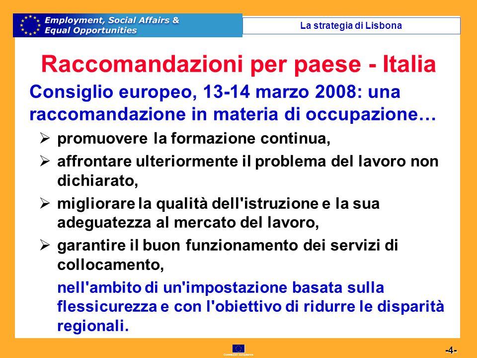 Commission européenne 4 -4- Raccomandazioni per paese - Italia Consiglio europeo, 13-14 marzo 2008: una raccomandazione in materia di occupazione… promuovere la formazione continua, affrontare ulteriormente il problema del lavoro non dichiarato, migliorare la qualità dell istruzione e la sua adeguatezza al mercato del lavoro, garantire il buon funzionamento dei servizi di collocamento, nell ambito di un impostazione basata sulla flessicurezza e con l obiettivo di ridurre le disparità regionali.