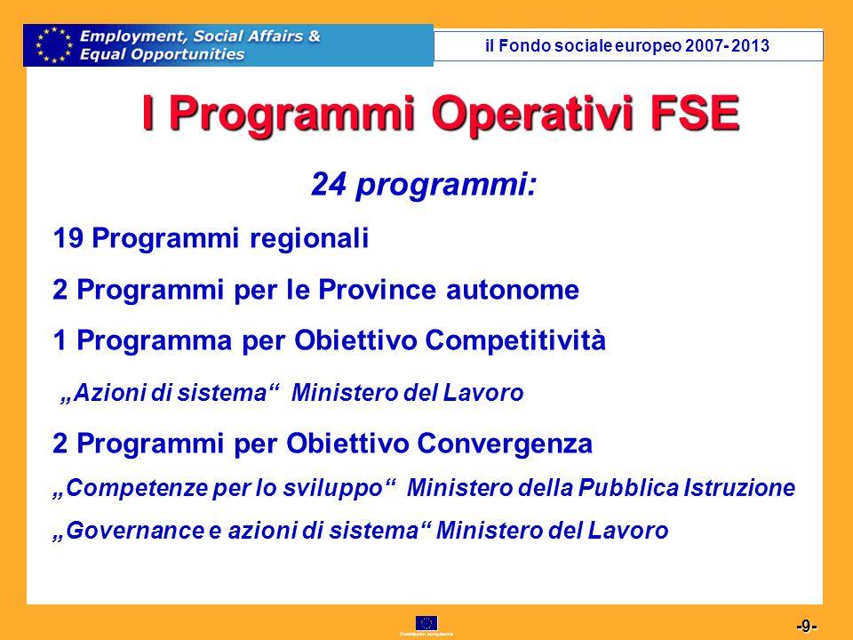 Commission européenne 20 -20- Percentuali risorse per Assi il Fondo sociale europeo 2007- 2013
