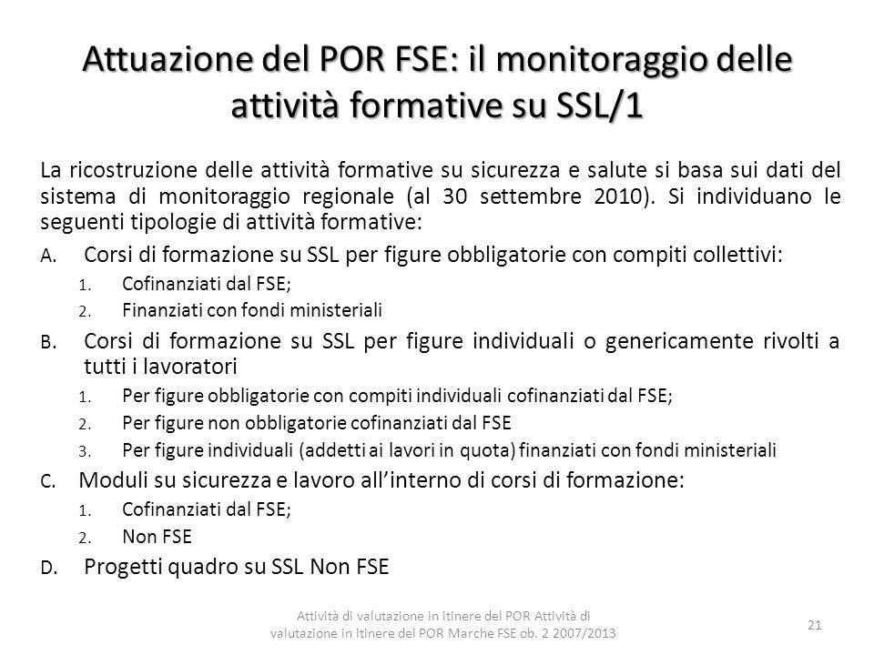 Attuazione del POR FSE: il monitoraggio delle attività formative su SSL/1 La ricostruzione delle attività formative su sicurezza e salute si basa sui
