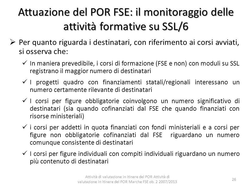 Attuazione del POR FSE: il monitoraggio delle attività formative su SSL/6 Per quanto riguarda i destinatari, con riferimento ai corsi avviati, si osse
