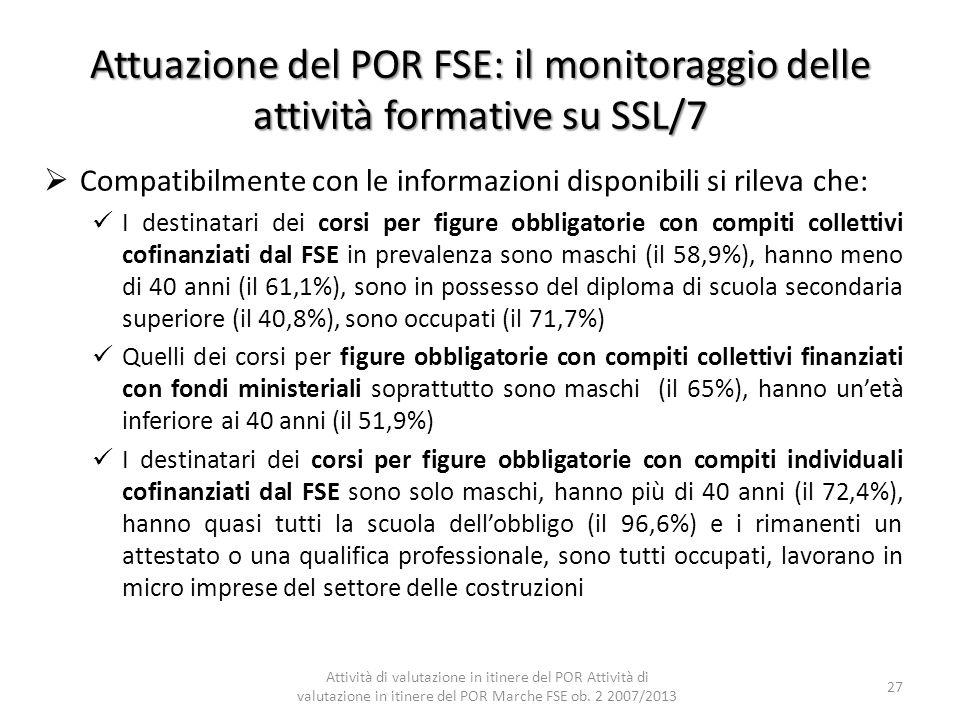 Attuazione del POR FSE: il monitoraggio delle attività formative su SSL/7 Compatibilmente con le informazioni disponibili si rileva che: I destinatari