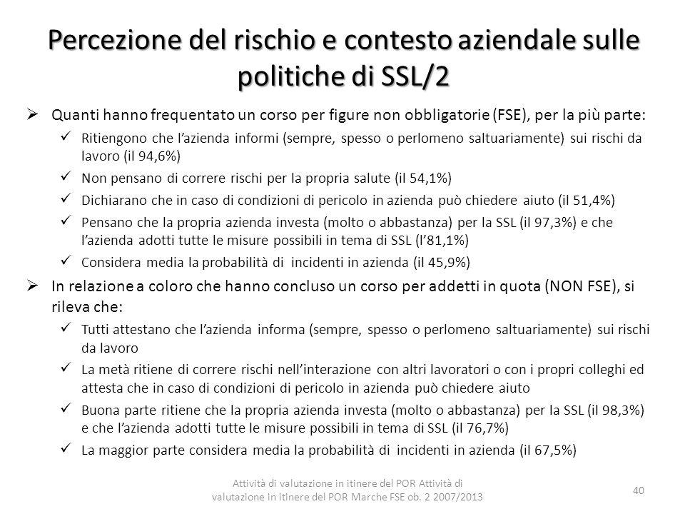 Percezione del rischio e contesto aziendale sulle politiche di SSL/2 Quanti hanno frequentato un corso per figure non obbligatorie (FSE), per la più p