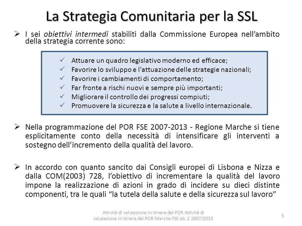 La Strategia Comunitaria per la SSL I sei obiettivi intermedi stabiliti dalla Commissione Europea nellambito della strategia corrente sono: Nella prog