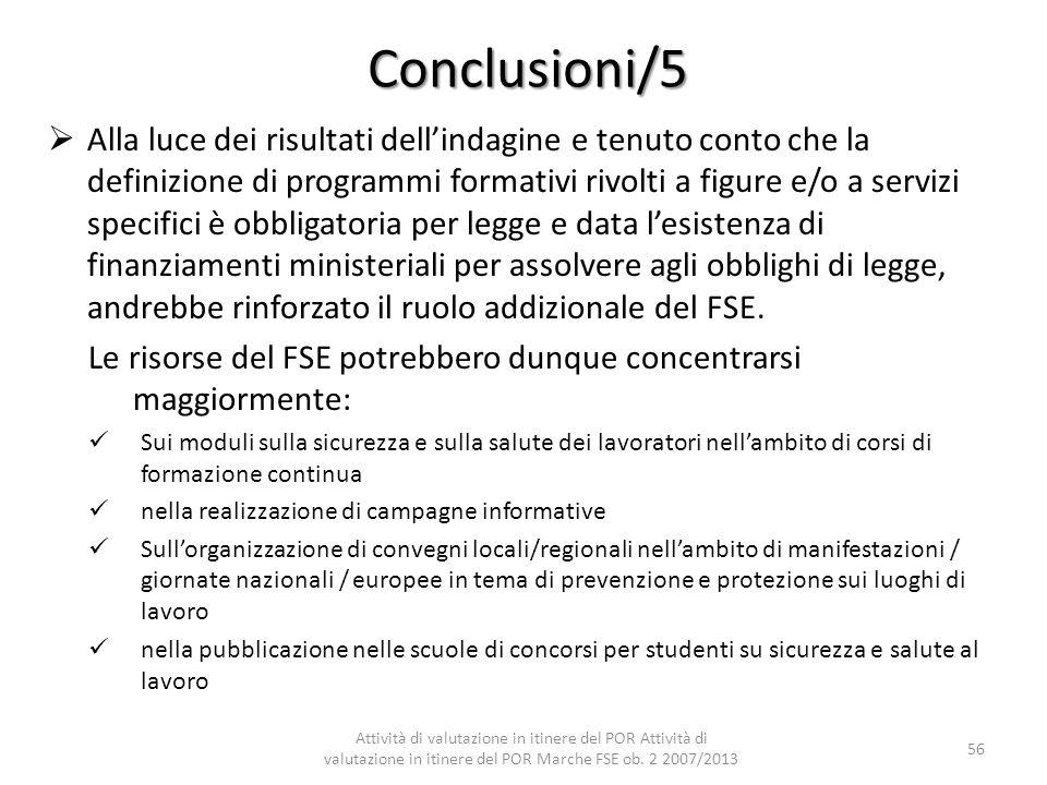 Conclusioni/5 Alla luce dei risultati dellindagine e tenuto conto che la definizione di programmi formativi rivolti a figure e/o a servizi specifici è