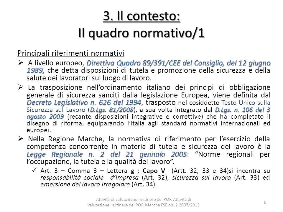 3. Il contesto: Il quadro normativo/1 Principali riferimenti normativi Direttiva Quadro 89/391/CEE del Consiglio, del 12 giugno 1989, A livello europe