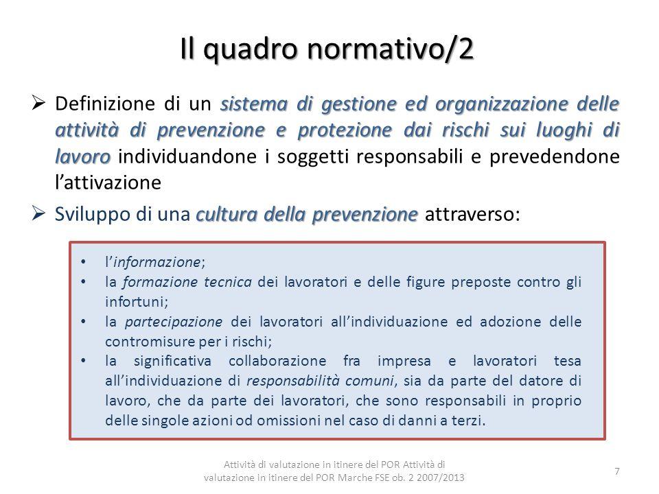 Il quadro normativo/2 sistema di gestione ed organizzazione delle attività di prevenzione e protezione dai rischi sui luoghi di lavoro Definizione di