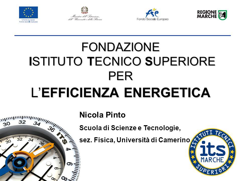 FONDAZIONE ISTITUTO TECNICO SUPERIORE PER LEFFICIENZA ENERGETICA Nicola Pinto Scuola di Scienze e Tecnologie, sez.